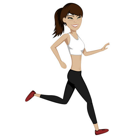 leggings: A pretty girl is running and smiling