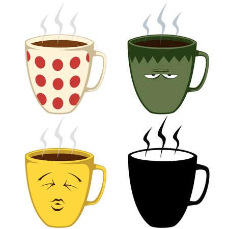 Set of coffee mug illustrations
