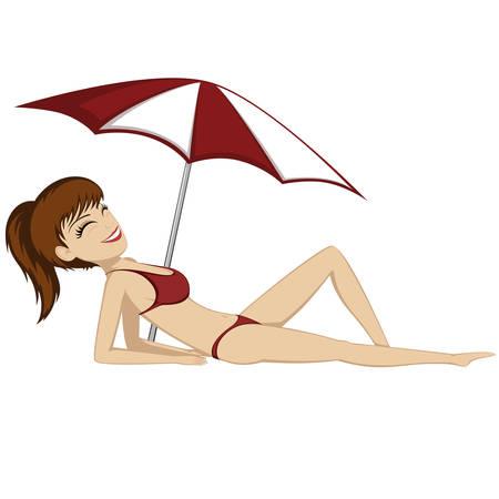 sunshade: A pretty girl is sunbathing (under a sunshade)