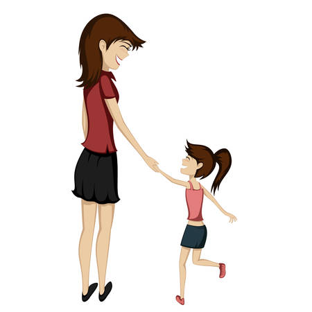 Brunette mom and daughter are holding hands and smiling at each other Illustration