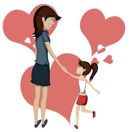 Brunette mom and daughter are holding hands and smiling at each other (hearts in background)
