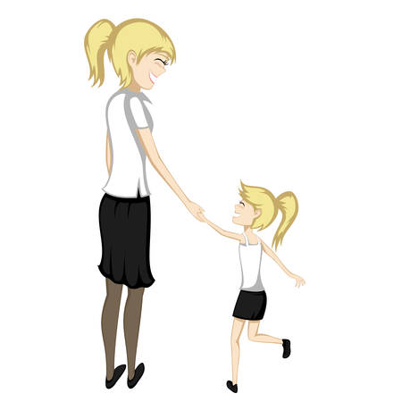 Blonde mom and daughter are holding hands and smiling at each other