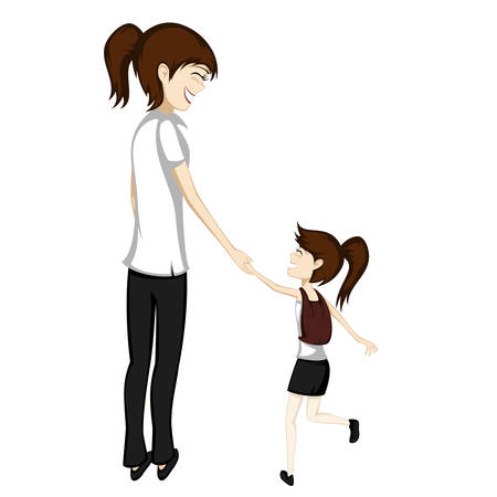 Brunette mom and daughter are holding hands while walking to school Illustration
