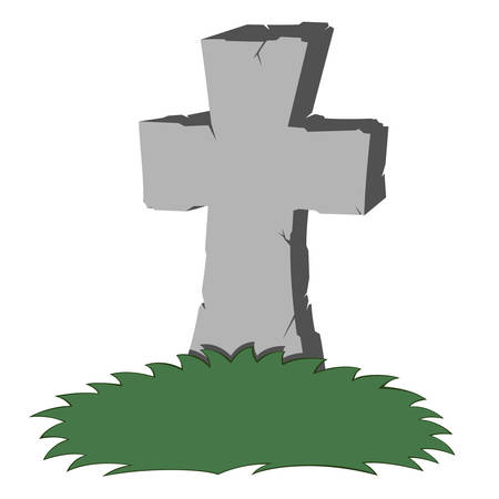 A gray cross-shaped gravestone with grass - you can place your text Иллюстрация