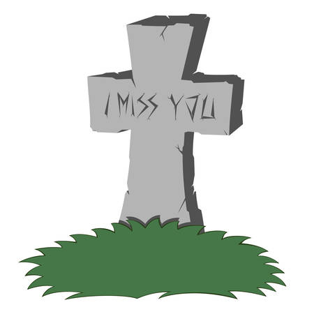 A gray cross-shaped gravestone with grass - with I MISS YOU text