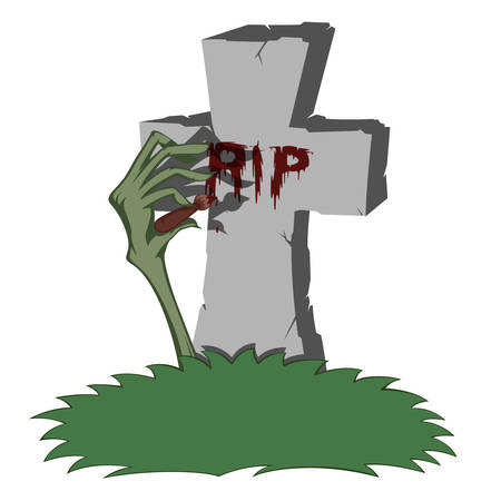 gravestone: A gray cross-shaped gravestone with grass - scary zombie hand paints RIP with blood Illustration