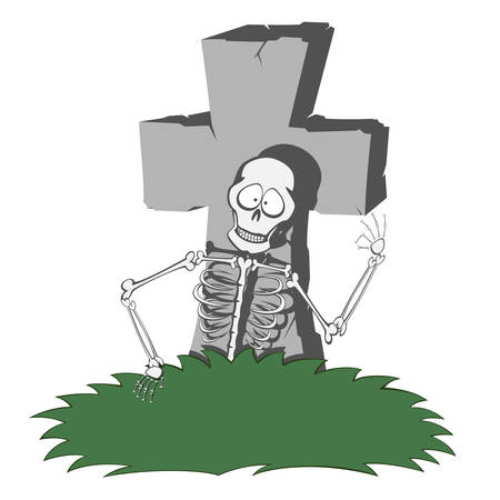 A gray cross-shaped gravestone with grass - a funny skeleton smiling