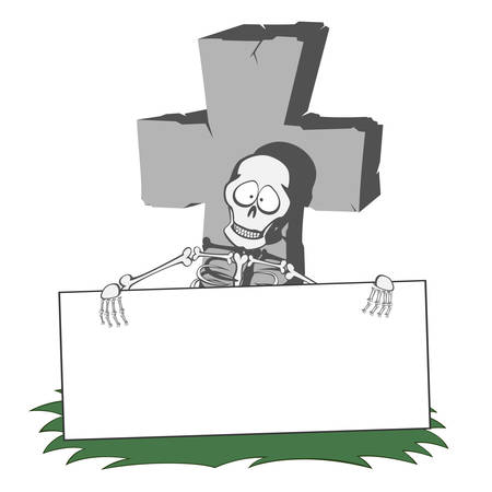 A gray cross-shaped gravestone with grass - funny skeleton holds a bulletin board Illustration