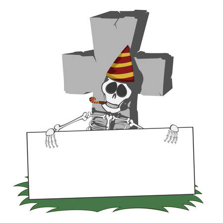 A gray cross-shaped gravestone with grass - skeleton party hard invitation