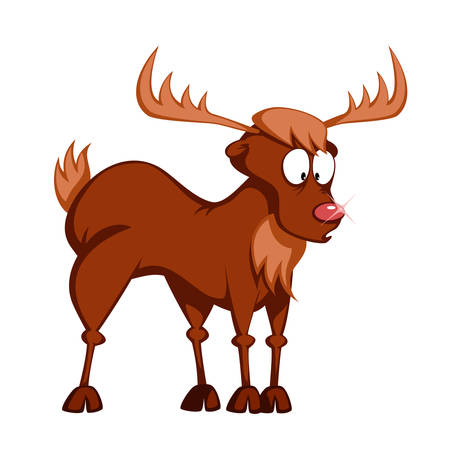 a cute reindeer (Rudolph) is standing and wondering (nose is lit)
