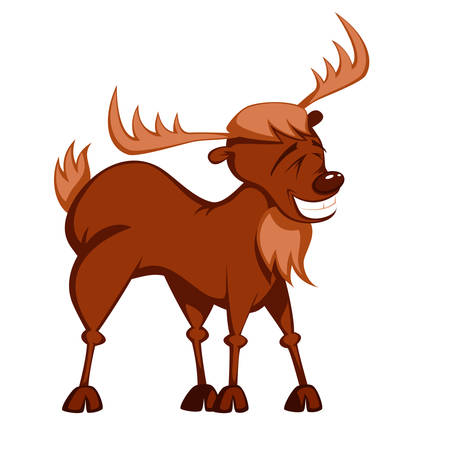 a roughneck reindeer is standing and smiling Illustration
