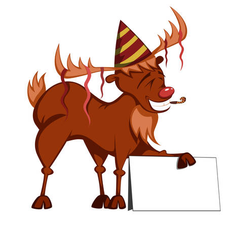 Rudolph the (red nosed) Reindeer is partying and holding a bulletin board Vettoriali