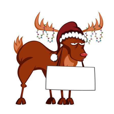 bored reindeer is decorated with christmas light garlands and holding a bulletin board in santa-hat