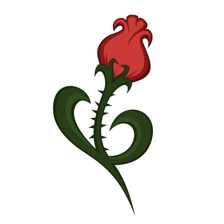 a beautiful rose-like flower illustration (with spikes)