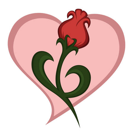 a beautiful rose-like flower illustration (with heart background)