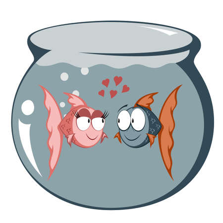 hot couple: Cool cartoon goldfish couple in love (in a fish tank)