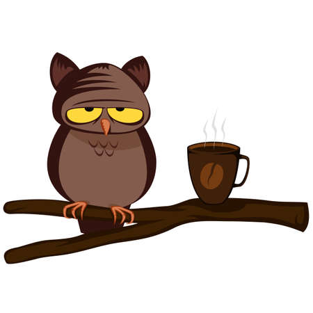 Owl with hard morning (with coffee) Vectores