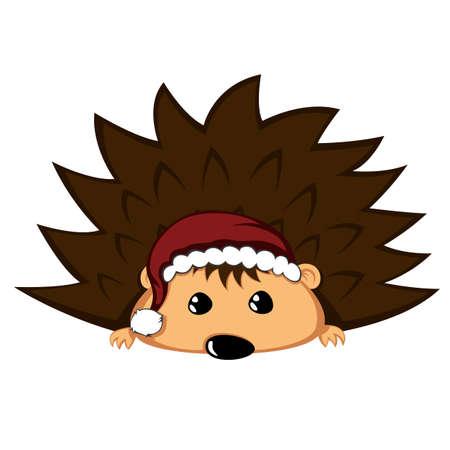 Santa hedgehog with begging eyes. Vettoriali