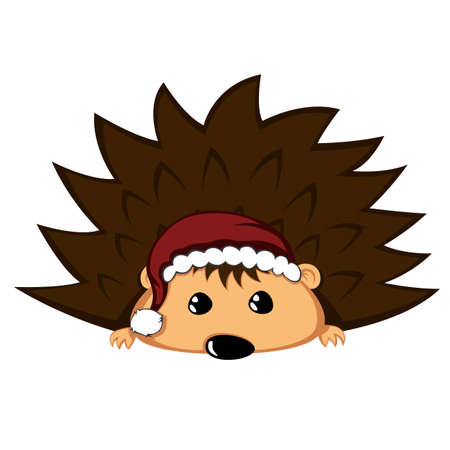 Santa hedgehog with begging eyes. Иллюстрация