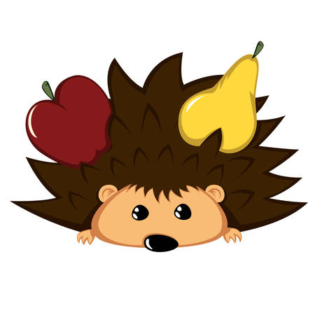 Hedgehog with begging eyes and fruits.