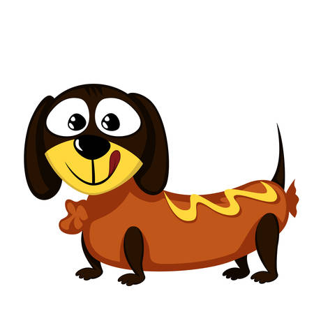 Lovely little dachshund as a sausage Vector illustration. Illustration