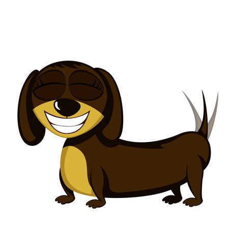Lovely little dachshund Vector illustration.