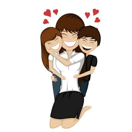 Lovin mommy forever - nice family portrait of a mother and her son and daughter hug together