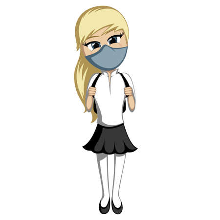 Back to school - Lovely little blonde schoolgirl with a backpack smiling in face mask (COVID edition)
