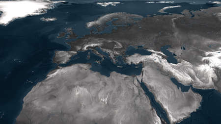 displace: 3d rendered europe geographical map with displaced surface