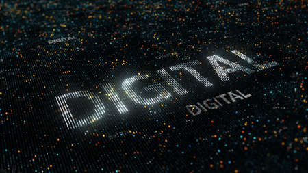 detail internet computer: computer theme word made of random dots on fractured string background with glow, abstract digital background with depth of field, particle style illustration