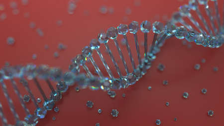 reflection of life: glass material dna geometry with small elements laying on the floor, abstract background Stock Photo