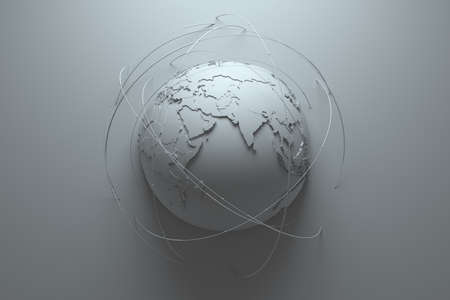 symbolize: monochrome abstract background with earth globe, continets are with countries randomly extruded, arcs around symbolize connection and technology among us