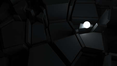 problem solving: abstract labyrinth with bright glow sphere, finding way of problem solving concept Stock Photo