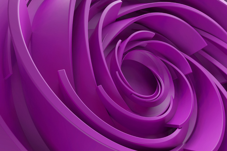3D rendering abstract background. Twisted concentric shapes. Rotated elements with random sizes with reflective surface.