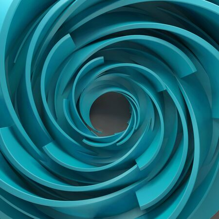 reflect: 3D rendering abstract background. Twisted concentric shapes. Rotated elements with random sizes with reflective surface.