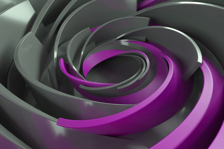 rotated: 3D rendering abstract background. Twisted concentric shapes. Rotated elements with random sizes with reflective surface.