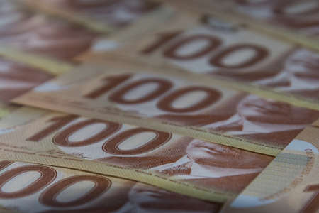 Canadian Hundred Dollar Bills Archivio Fotografico