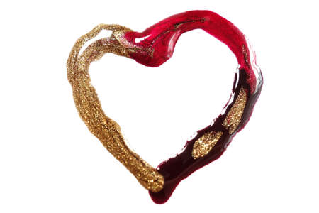 Nail polish heart isolated on white. Red, gold and black colour.Nail accessories. Beauty and fashion supplies