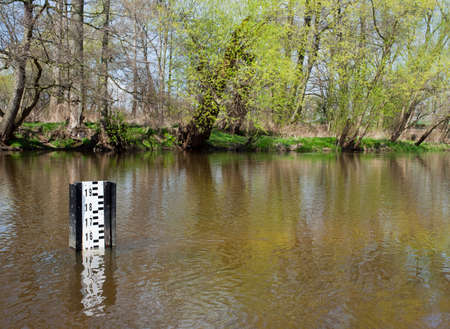 depth gauge: Water flood gauge depth marker in small river called Drzewiczka in Odrzywol, Poland, trees with fresh green spring leaves on shore and reflections on water surface. Horizontal orientation, nobody. LANG_EVOIMAGES