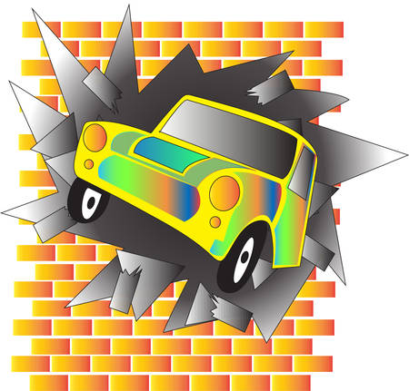 el coche chocó contra la pared de colores