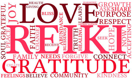 holistic: Reiki word cloud on a white background.