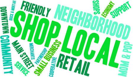Shop Local Word Cloud Ilustrace