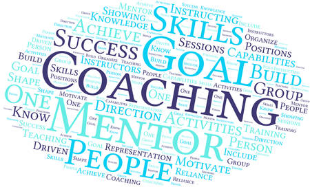 driven: Coaching word cloud on a white background. Illustration