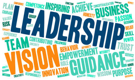 contributing: Leadership word cloud on a white background.