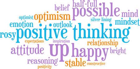 白い背景の上の肯定的な思考の単語の雲。  イラスト・ベクター素材