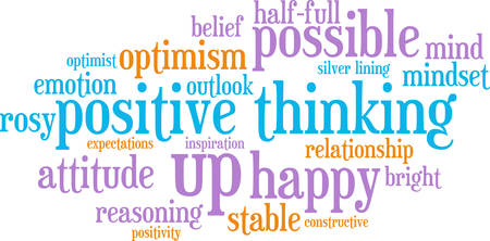 Positive thinking word cloud on a white background.
