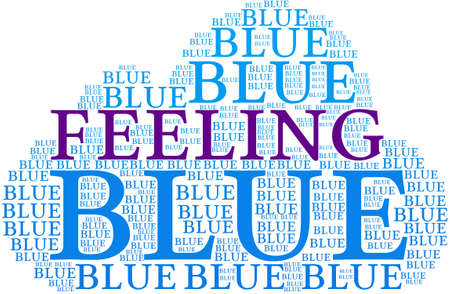 Feeling Blue word cloud on a white background. Çizim