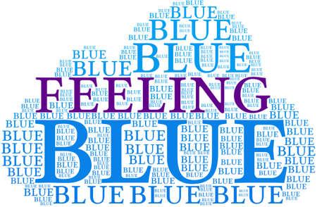 bleak: Feeling Blue word cloud on a white background. Illustration