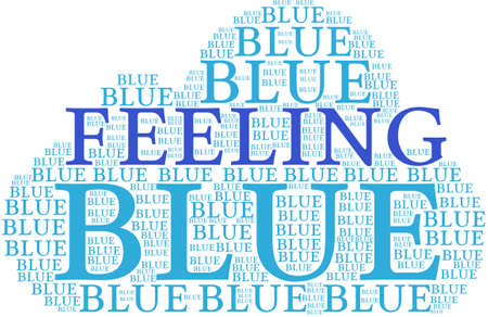 sombre: Feeling Blue word cloud on a white background. Stock Photo