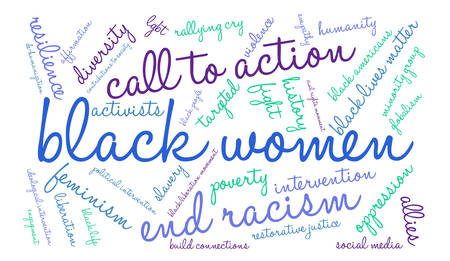 oppression: Black Women word cloud on a white background. Illustration